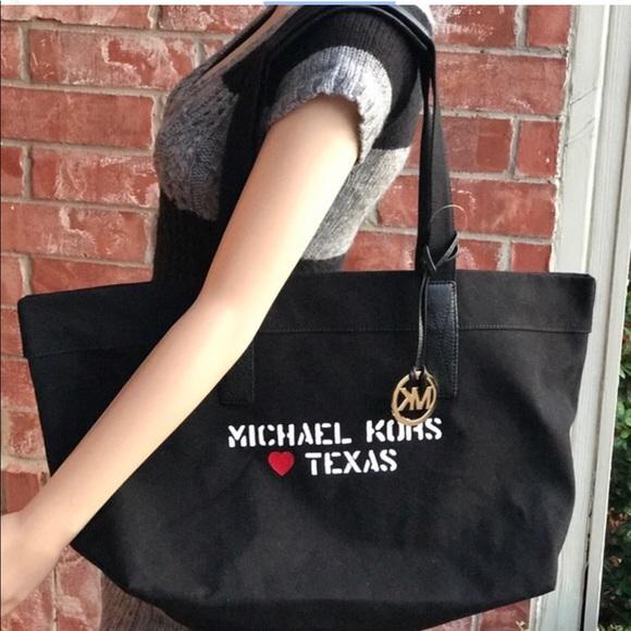 MK XL City Tote Loves Texas Black Goldstone Canvas d03b1d37f87d6